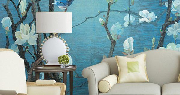 tapisserie asiatique sur mesure papier peint chinois paysage magnolia et oiseau sur fond bleu. Black Bedroom Furniture Sets. Home Design Ideas