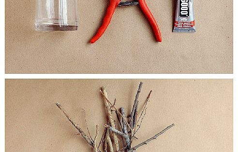 DIY Decorative Tree Branches Candle Holder - spray the branches white and
