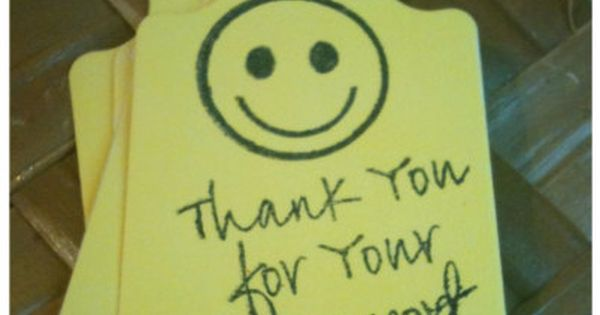 Smiley Face Bake Sale Fundraiser Thank You Tags By