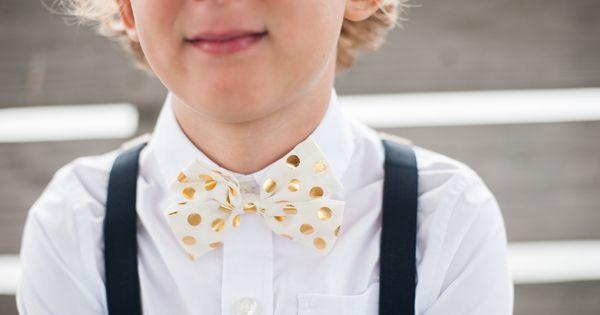 Wedding tie - gold polka dot bow tie | Meaghan Elliot #wedding