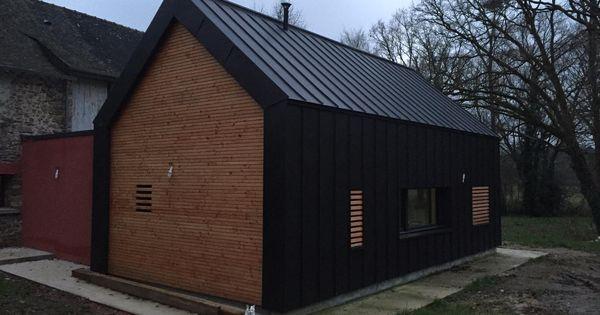 Allano Breizh Couverture A Rennes Maison Toiture Et Bardage Vm Zinc Anthracite Noir House Cladding House Exterior Architecture