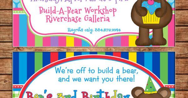 Girl or Boy Teddy Bear Build Bear Birthday Invitation DIGITAL – Build a Bear Birthday Invitations