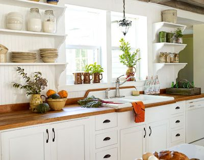 Today's Country Kitchen Decorating: Use open shelving. Whether that includes eliminating some