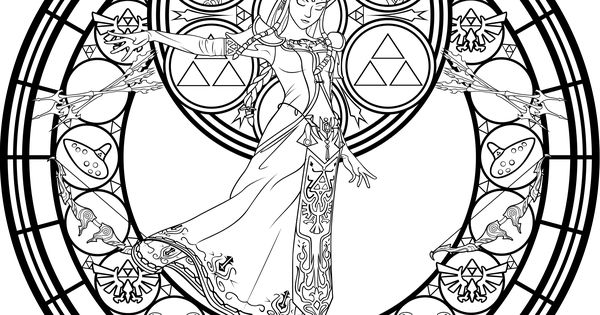 stained glass zelda coloring page by akili amethyst