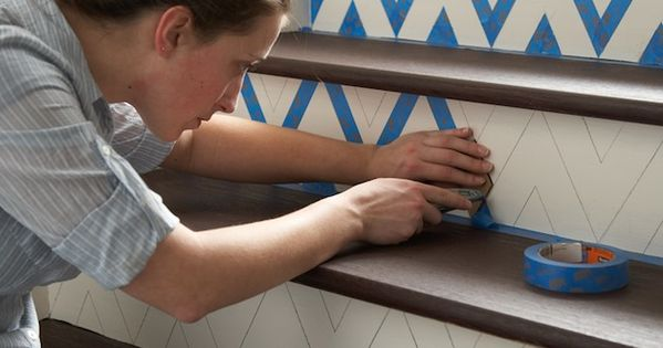 DIY Chevron Striped Painted Stairs - Home Depot diy homedepot