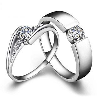 Sona Synthetic Diamond Engagement Couple Ring Best Wedding
