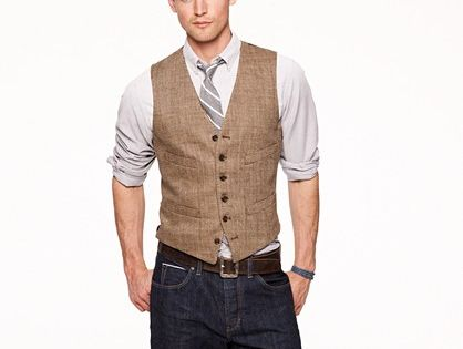 Jcrew linen Herringbone suit vest. I think I could make this for