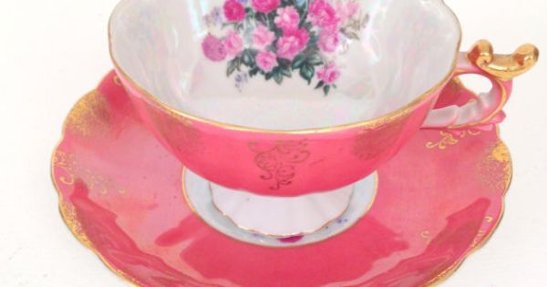 Reserved for kathy antique footed porcelain china salmon coral teacup and saucer duo - Flamingo pink kitchenaid mixer ...