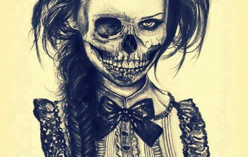 Skull lady with fishtail braid & bow tie!