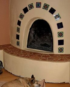 The Kiva Fireplace Steppin Up Out Southwest Style Mexican Tile Fireplace Fireplace Tile Fireplace Mantel Designs