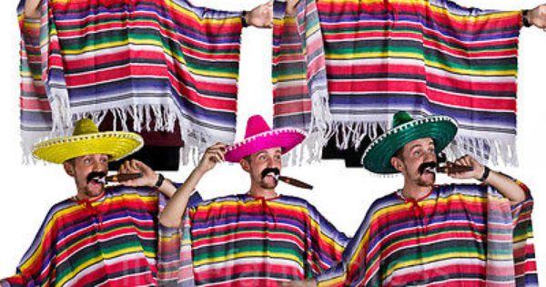 PINK MEXICAN BANDIT COSTUME PONCHO SOMBRERO TASH CIGAR BULLET BELTS FANCY DRESS