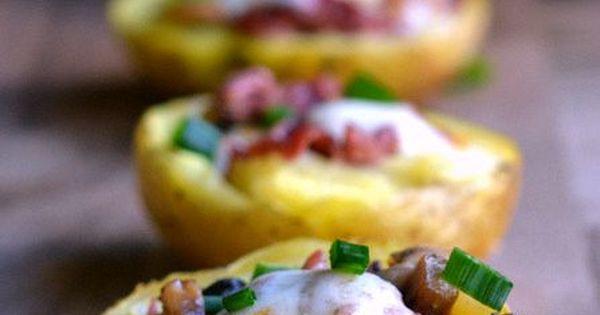 Cheese puffs, Potato skins and Potato skins appetizer on Pinterest