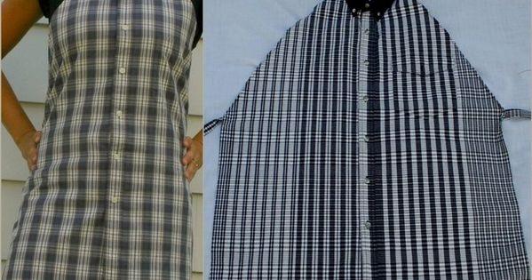 creativeee. man's shirt made as an apron......so ready to make these again.