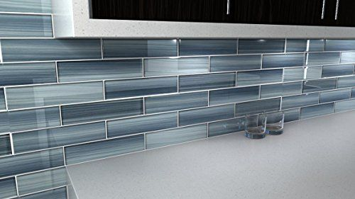 Deep Ocean Blue Gentle Grey 3x12 Glass Tile Perfect For Kitchen