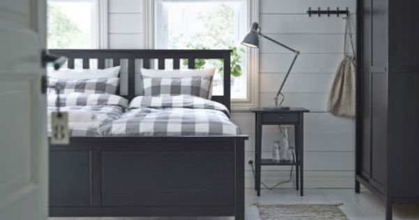 Hemnes Bedbank Bruin.Hemnes Bed Frame Black Brown Lonset King Ikea Bedroom Hemnes
