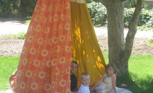 3 twin sheets & hula-hoop & rope - great backyard or camping