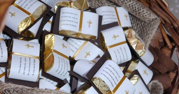 First Communion Chocolate Bible Favors Contact