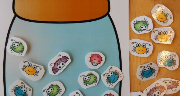 This bug math game is a fun spring counting activity. Great for