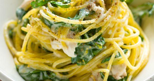 meyer lemon pasta w/ smoked fish, creme fraiche, spinach + arugula