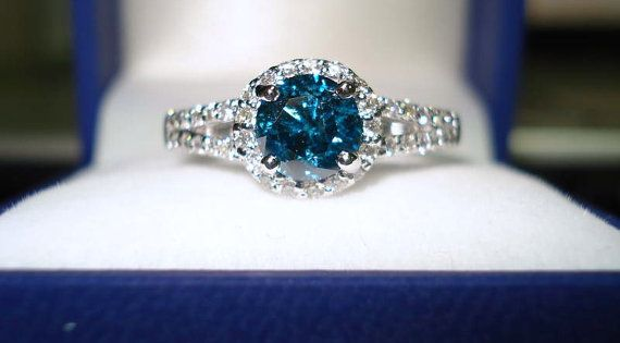 950 Platinum Certificate Blue & White Diamonds Engagement Ring 1.36 Carat handmade.