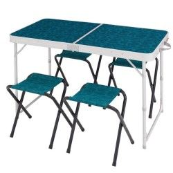Table De Camping Camp Du Randonneur Bleue Pour 4 Personnes Avec 4 Sieges Table De Camping Pliante Table Camping Table Pliante