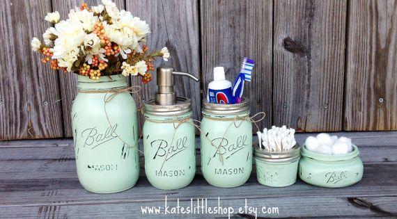 Set Of 2 Pint Size Painted Mason Jar Soap Dispensers