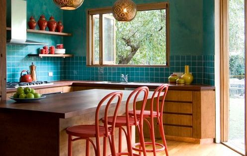 Deep bright 10 ways with red teal kitchen colors for Teal and red kitchen