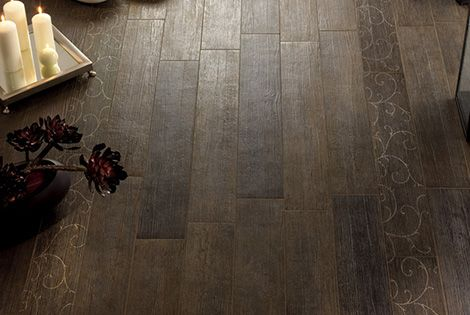 ceramic tile that looks like wood? .....perfect for the master bathroom