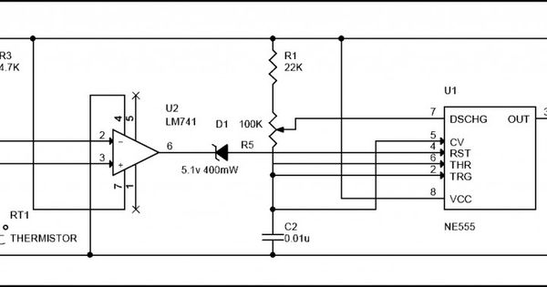 simple fire alarm circuit using thermistor  germanium diode and lm341