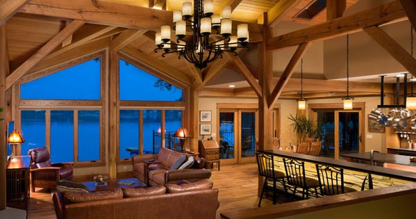 Kalamazoo Michigan Timber Frame Home Walkout Basement