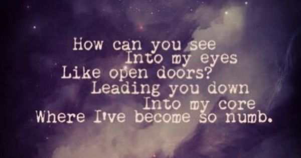 Bring me to life lyrics minus one