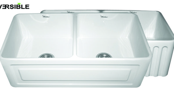 Raised Sink Bowls : Reversible Series double bowl fireclay sink WHFLRPL3318 with a raised ...