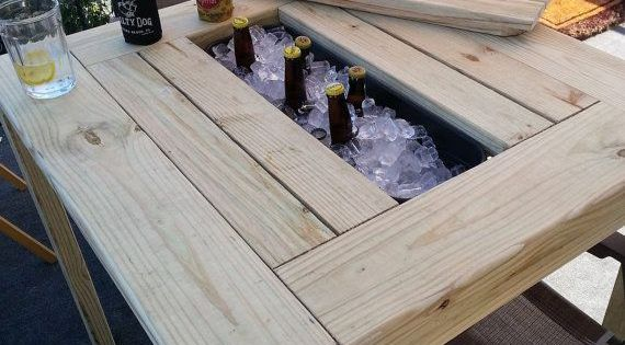 patio table with ice bin by theatticwoodshop on etsy re pinned by. Black Bedroom Furniture Sets. Home Design Ideas