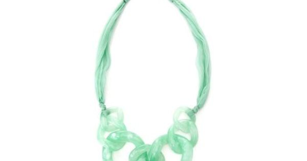 Beautiful Mint Green Adia Kibur Link & Chiffon Necklace