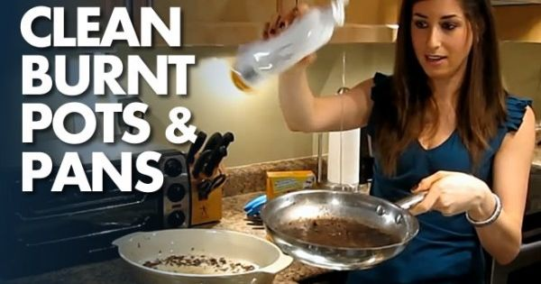 how to clean burnt pots and pans uses dish soap baking soda a little water totally works i. Black Bedroom Furniture Sets. Home Design Ideas