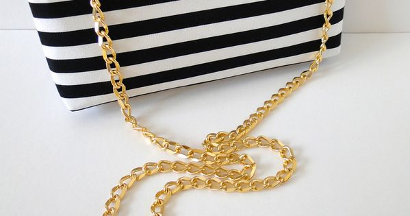 Bold Crossbody Striped Clutch Bag with Gold Chain Strap. $37.00, via Etsy.