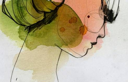 LES FILLES by Ekaterina Koroleva - line drawing with splashes of watercolor