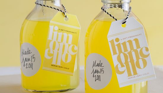 Homemade limoncello; a cute gift for the food (and beverage) lover