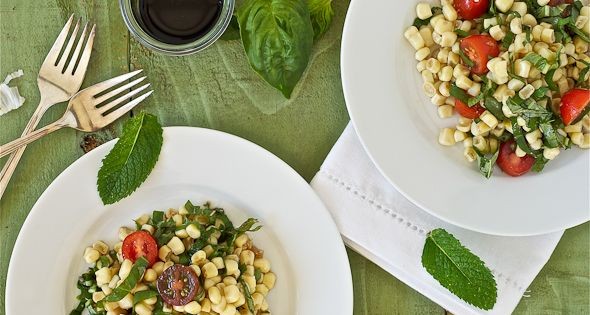 [ Recipe: Summer Corn Salad ] Made with: cooked corn, cherry tomatoes,
