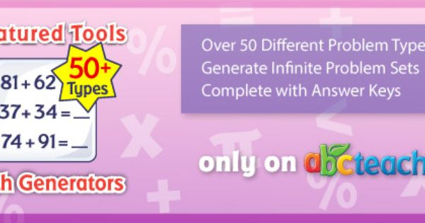 Customizable Math Generators Over 50 Problem Types Infinite Problem Sets Complete With Answer Keys Availab Educational Worksheets Problem Set Teacher Help