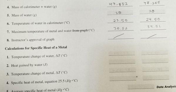 Calorimetry Worksheet Answer Key Solved Experiment 25 Report Sheet Calorimetry Lab Sec Nam Osmosis jones worksheet answer key