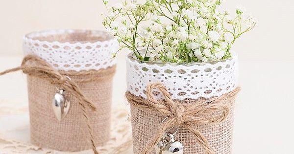 Recuerdos Matrimonio Rustico : Vasito con yute y mini corazón rustic weddings bodas