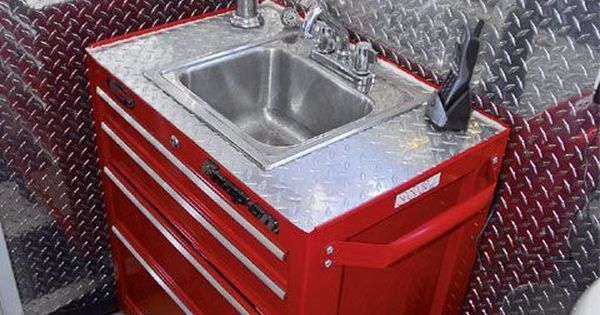 Sink Vanity Made From A Rolling Tool Box Man Caves Pinterest Rolling Tool Box Garage