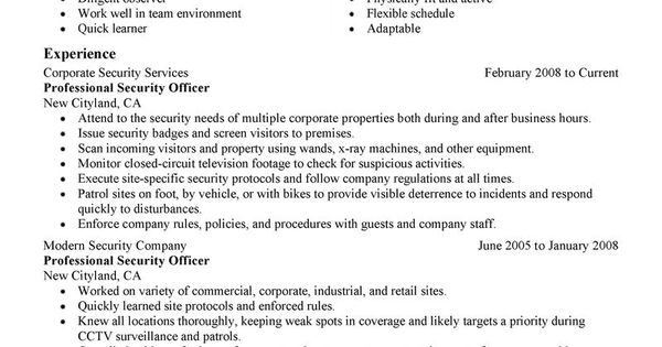 guard security officer resume