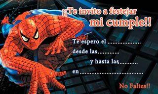 Spiderman Invitaciones De Cumpleaños Para Imprimir