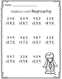 Penguin Math Freebie 2nd Grade Math Worksheets 3rd Grade Math