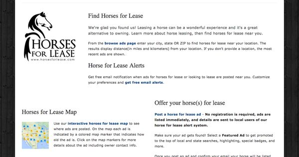 Wordpress website designed and developed by Targeted Services - horse lease agreements