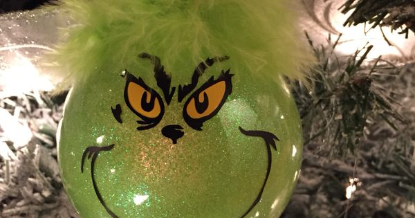 Grinch Ornaments Used A Plain Glass Ornament And Used Mop