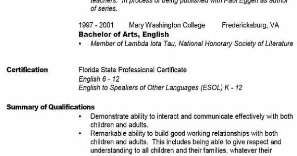 sample teacher resume Resumes Pinterest English, Names and