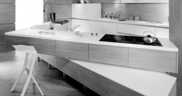 Minimalist kitchen with off set counter tops modern Amr helmy mini kitchen
